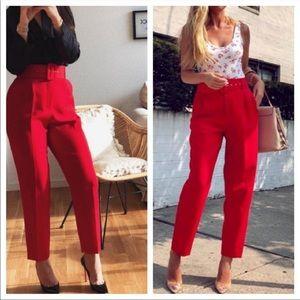 Zara Red High Waist Trousers